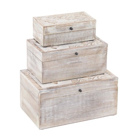 Decmode Set of 3 Natural Mango Wood Dragonfly Design Whitewashed Boxes With Lid, Brown ()