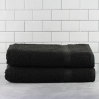 Mainstays Basic Bath Collection - 2-Piece Bath Sheet Set, Solid Rich Black