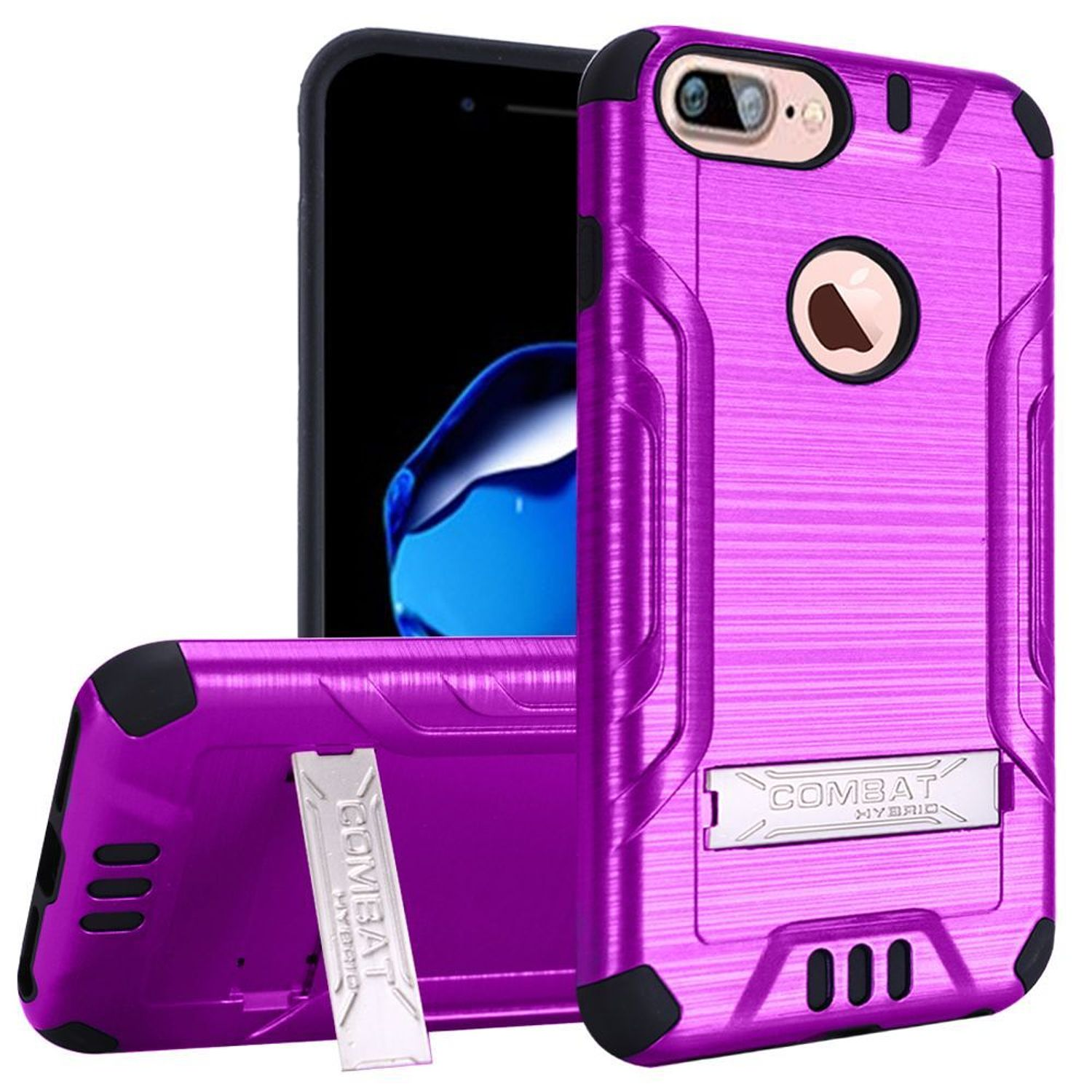 iPhone 7 Plus Case, by Insten Dual Layer [Shock Absorbing] Protection Hybrid Stand Plastic/TPU Rubber Case Cover for Apple iPhone 7 Plus, Purple/Black