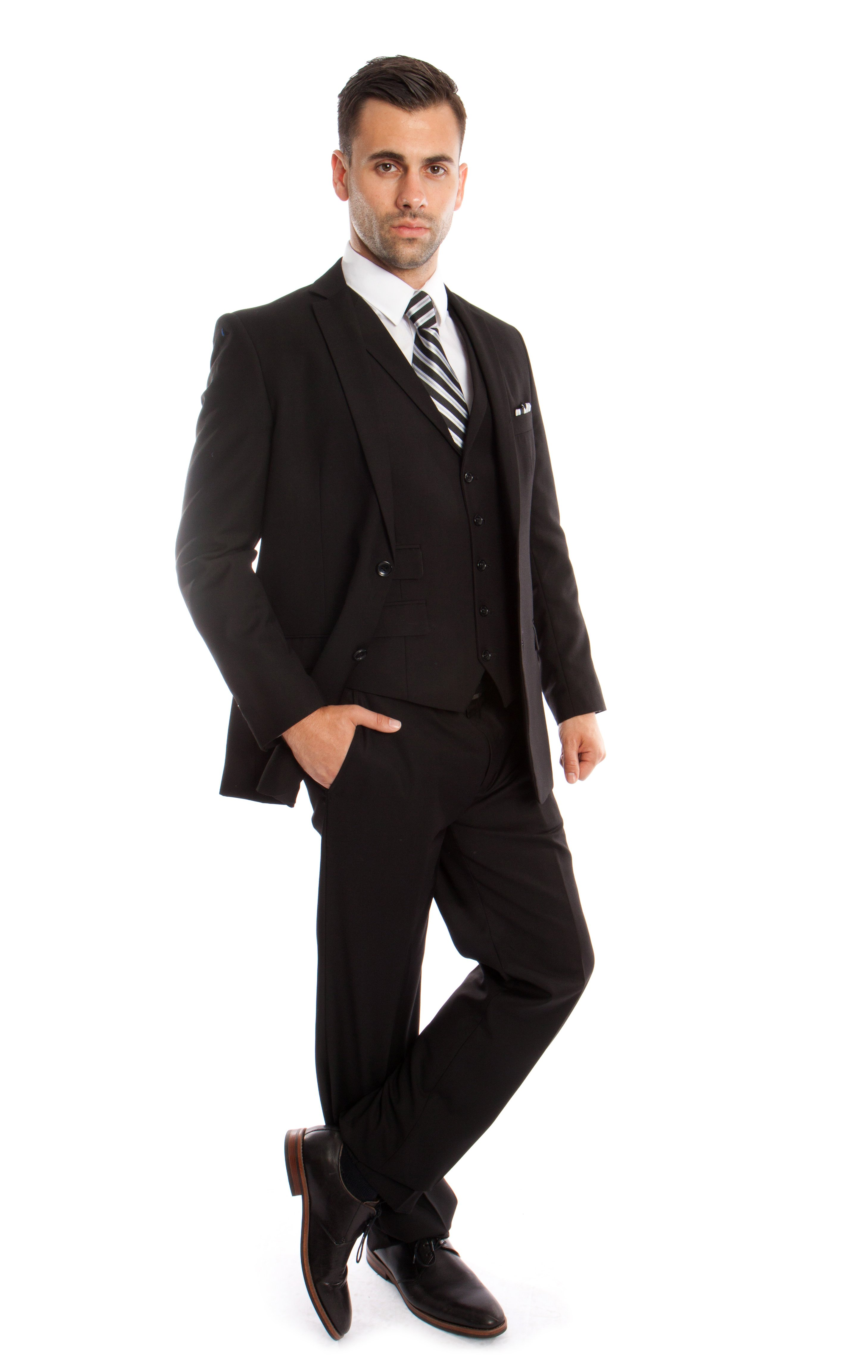 Mens Tuxedo Suit Set 3 Piece Suits with Collar Vest Plus Free...