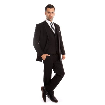 Mens Suit Three Piece Slim Fit Solid Collar Vest Suits