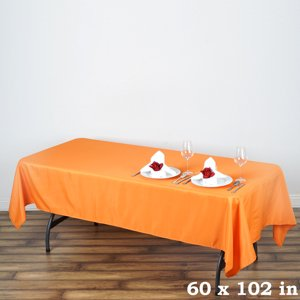 "Efavormart 60x102"" Polyester Rectangle Tablecloths for Kitchen Dining Catering Wedding Birthday Party Decorations Events"