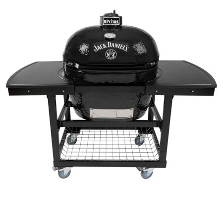 Primo Oval XL 400 Ceramic Smoker Grill Jack Daniel's Edition On Cart with 2-Piece Island Top ()
