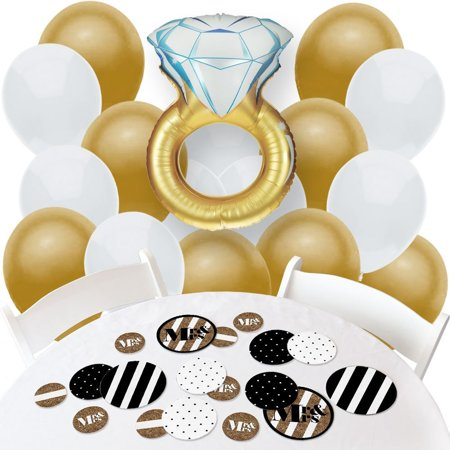 Mr. & Mrs. - Gold - Confetti and Balloon Bridal Shower Decorations - Combo Kit