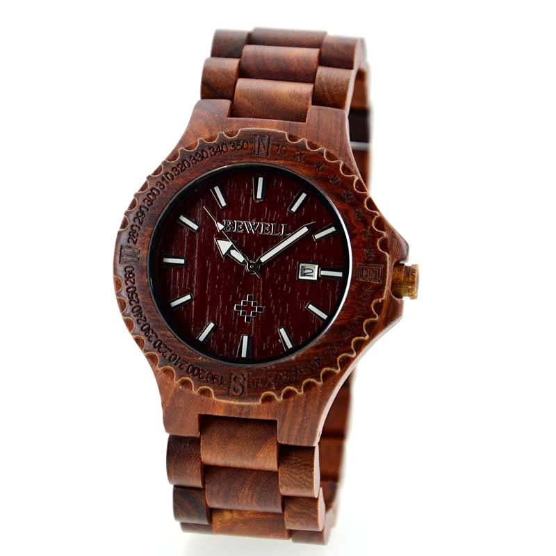 Bewell Men's Red Wood Watch Made With Sandalwood