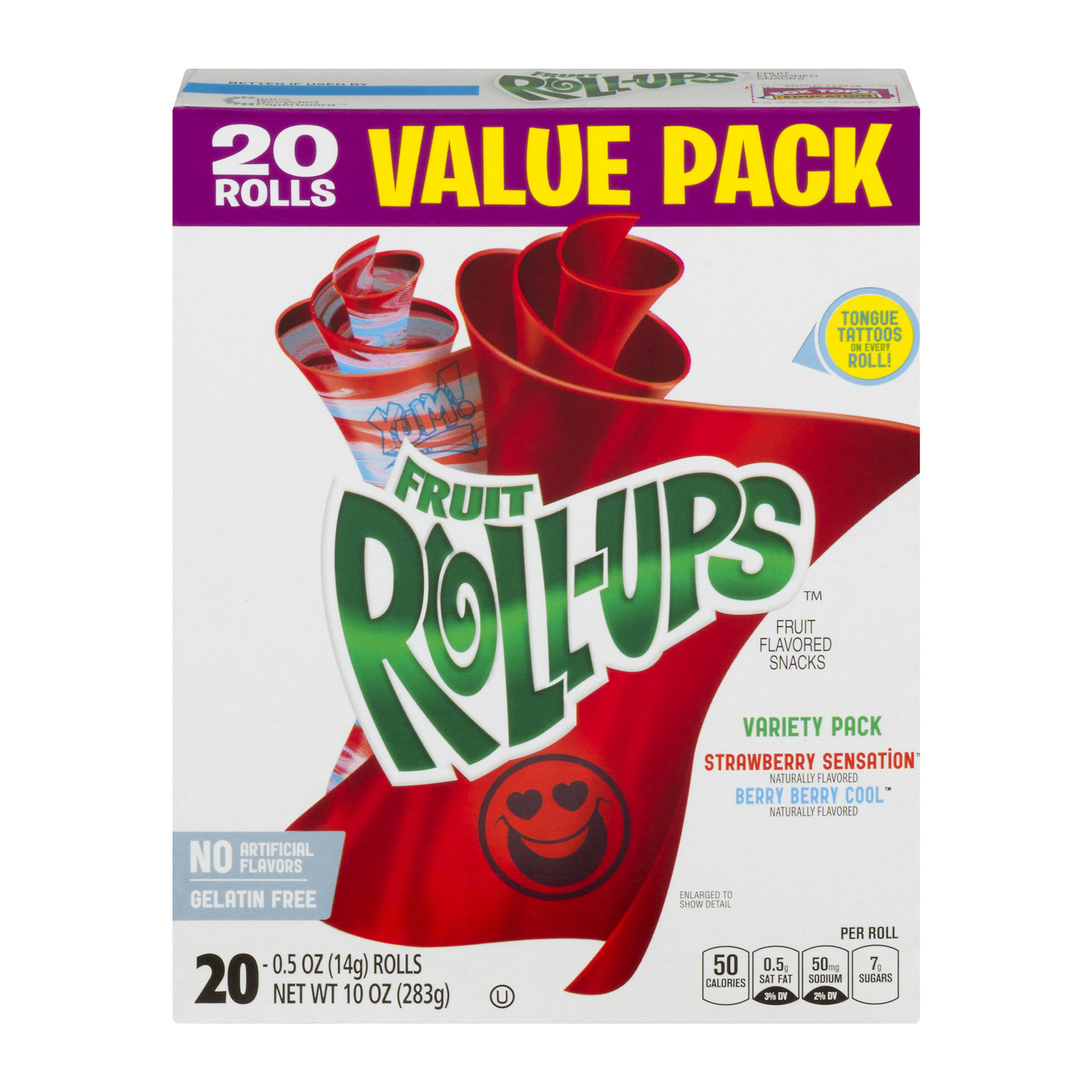 Betty Crocker® Fruit Roll-Ups Variety Pack of Strawberry Sensation and Berry Berry Cool Value Pack 20 - 0.5 oz Rolls
