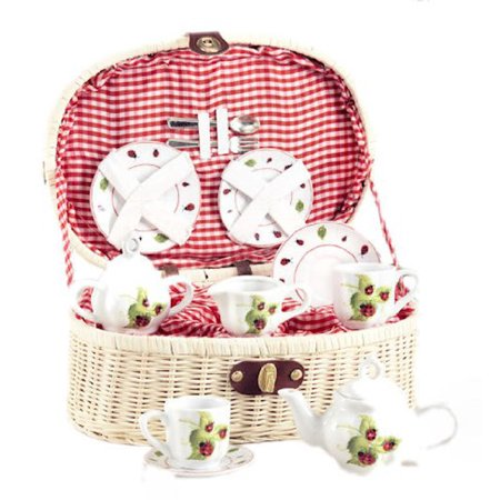 Delton Products Ladybug Kids Tea Set for Two in Basket (19 (Service Basket)