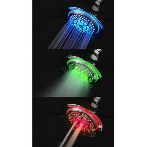Interlink LED Stationary Multi Function Adjustable Shower Head with Temperature-based LED