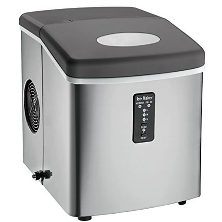Igloo ICE103 Counter Top Ice Maker with Over-Sized Ice Bucket, Stainless Steel Bottom Freezer Stainless Steel Ice Maker