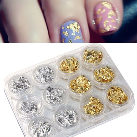 12PC Nail Art GD SL Paillette Flake Chip Foil DIY Acrylic UV Gel