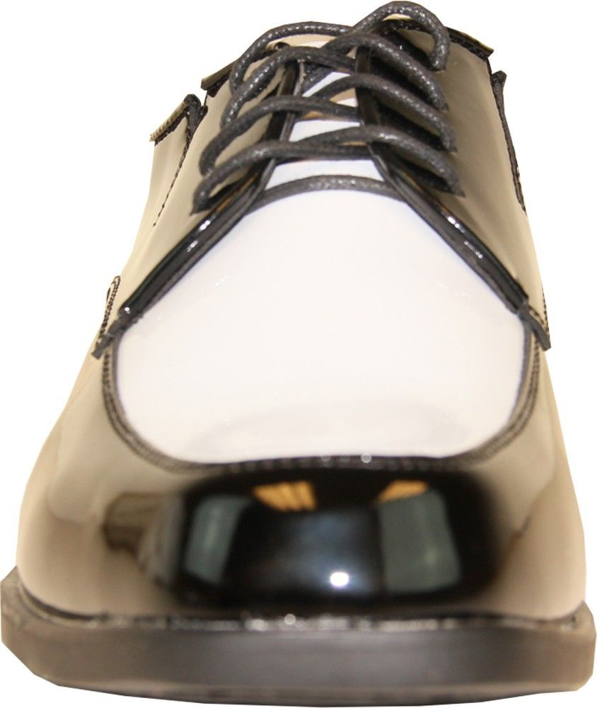 VANGELO Men Tuxedo Shoe TUX-7 Two-Tone Color Fashion Moc Toe with Wrinkle Free Material Black&White Patent 13W
