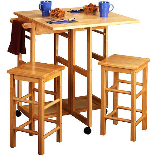 Spacesaver 3 Piece Square Breakfast Set, Natural