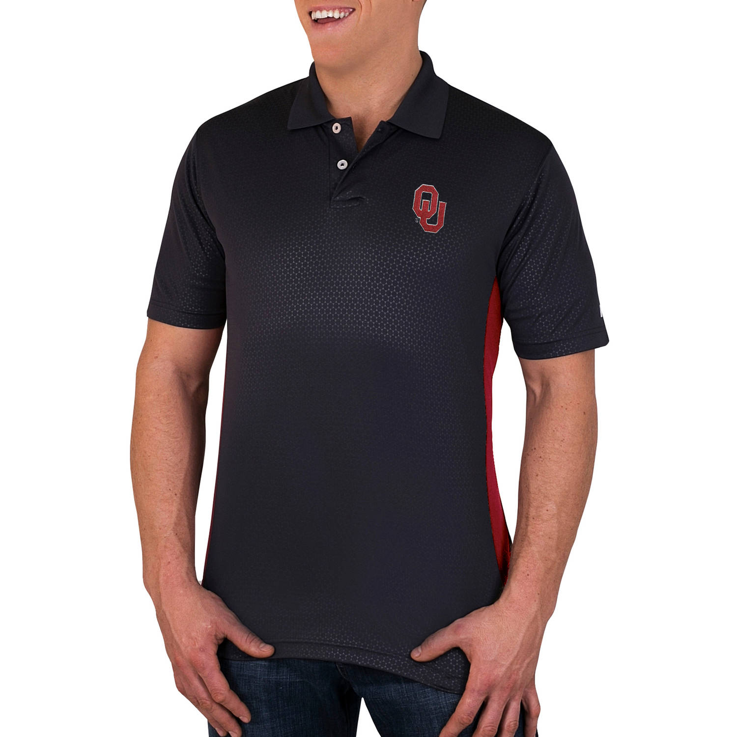 NCAA Oklahoma Sooners Men's Synthetic Embossed-Pattern Polo
