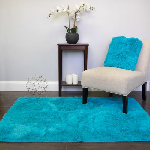Wrought Studio Hutton Cloud Plush Faux Fur Turquoise Area Rug