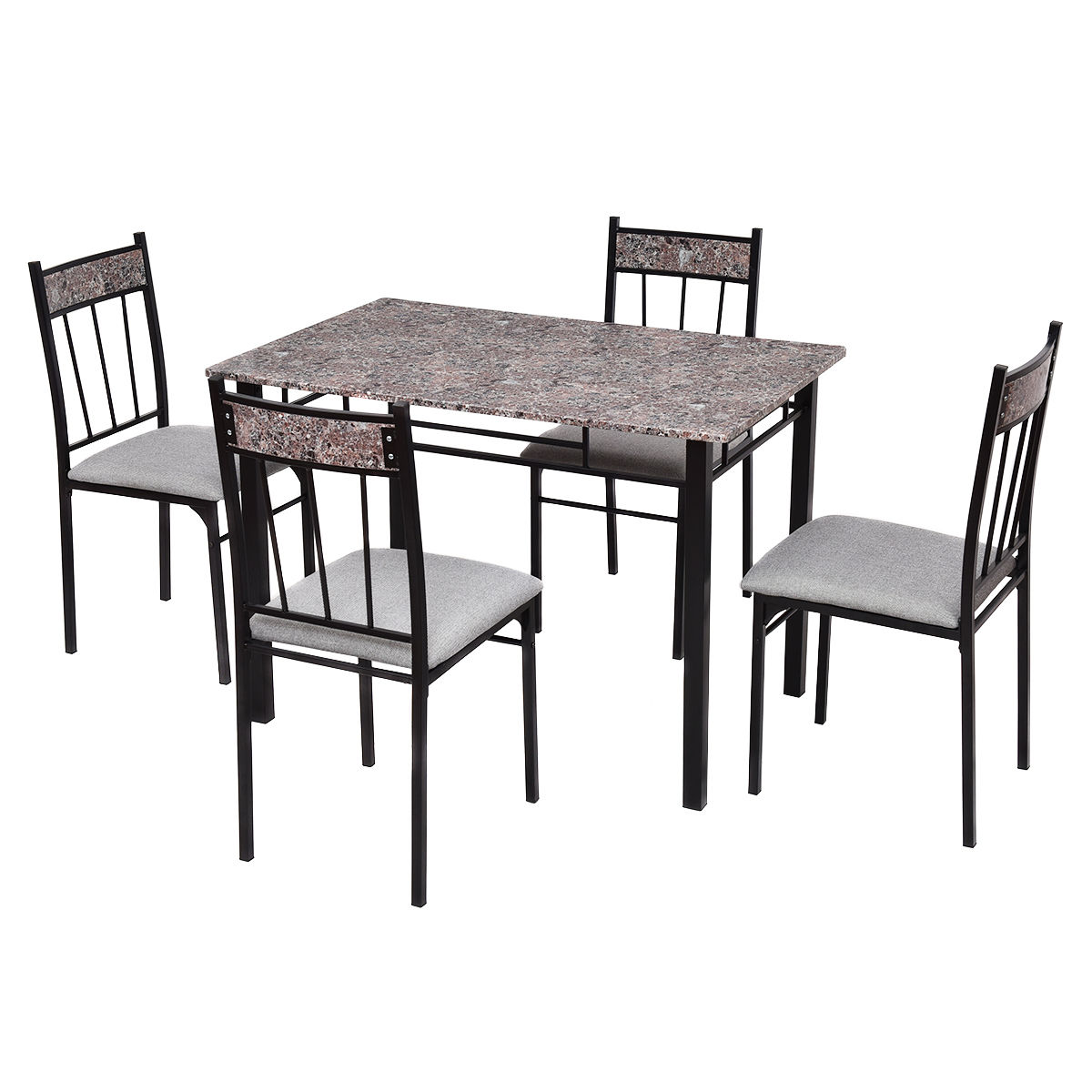 Costway 5 Piece Faux Marble Dining Room Set Table and 4 Chairs Kitchen Breakfast Furniture by Costway
