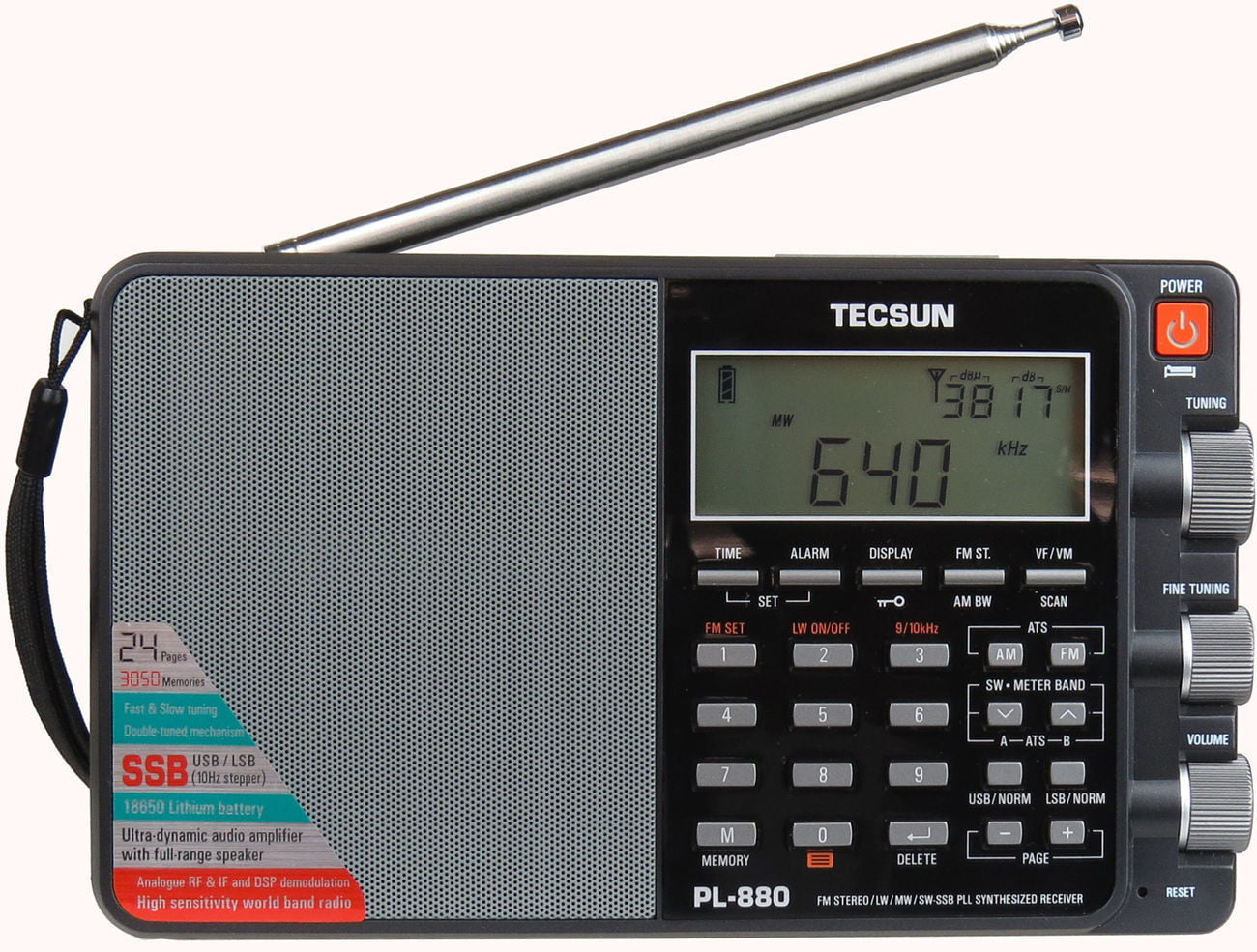 Tecsun PL880 Portable Digital PLL Dual Conversion AM FM, Longwave & Shortwave Radio with SSB (Single Side... by Tecsun
