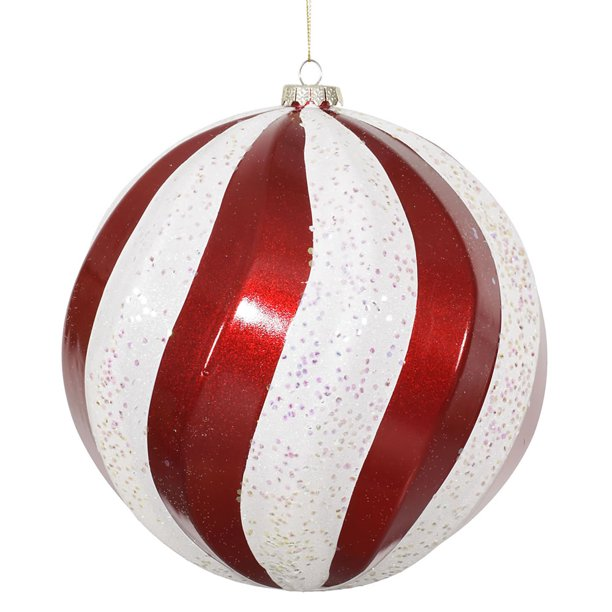 Shiny Classic Red And White Swirl Shatterproof Christmas Ball Ornament 8 200mm Walmart Com Walmart Com