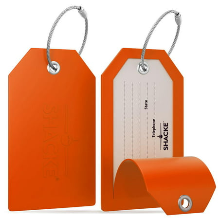 Shacke Luggage Tags with Full Back Privacy Cover w/ Steel Loops - Set of 2