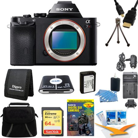 Sony 36.3 MP a7R ILCE7R/B ILCE7RB ILCE7R Full-Frame Interchangeable Digital Lens Camera - Body Only Includes camera, 64GB SDXC Memory Card, NP-FW50 Camera Battery, Carrying Case and more.