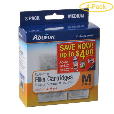 Quietflo Replacement (Aqueon QuietFlow Replacement Filter Cartridge Medium (3 Pack) - Pack of 4)