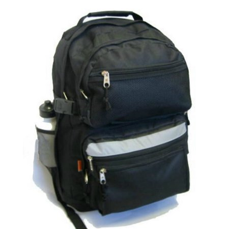 Large Backpack School Bag Book Bag with Free water bottle 19 Inches Black 19 x 13 x 8