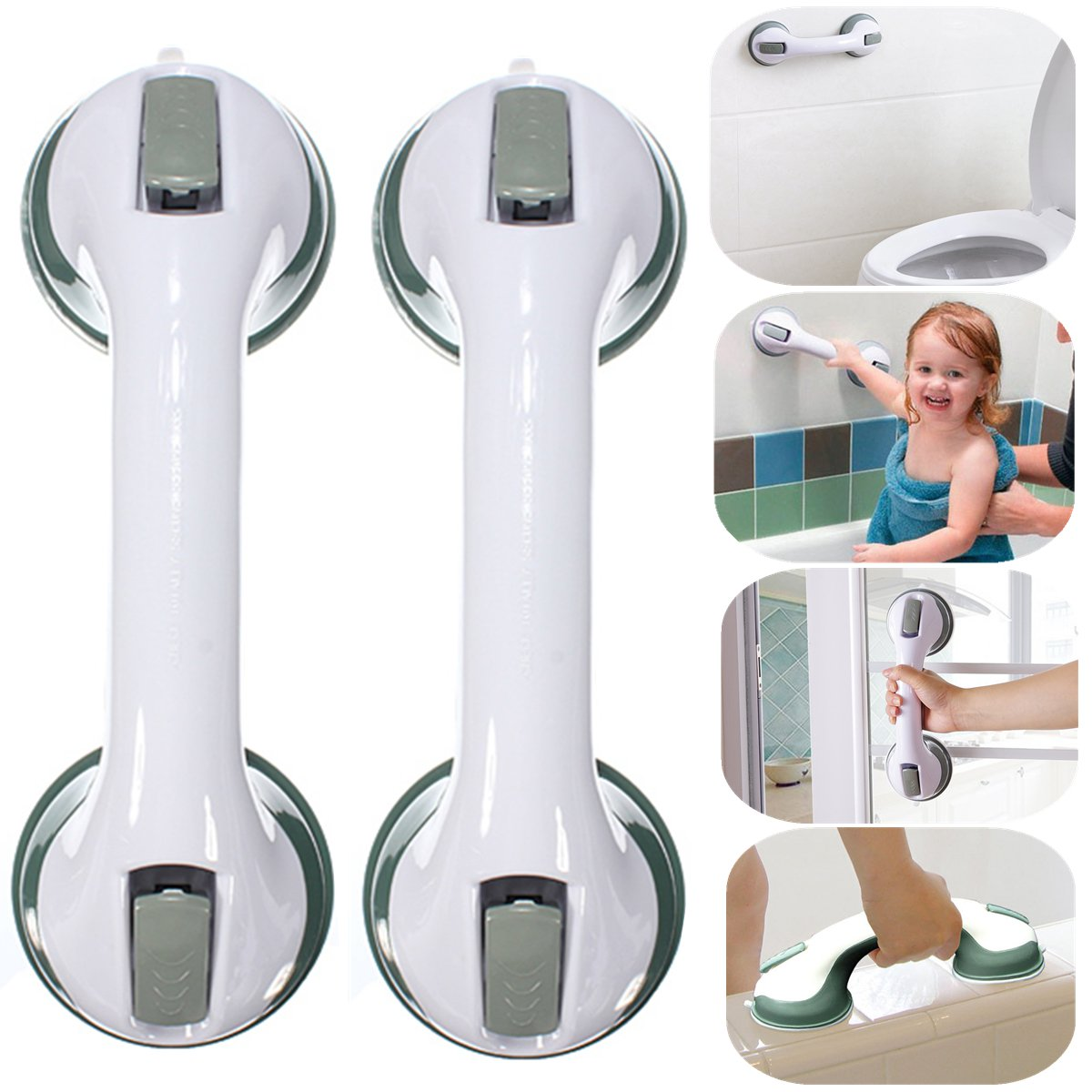 1 Pair Strong Suction Cup Safety Anti-Slip Waterproof Support Grab Bar Grip Handle Handrail for Bathroom Toilet Tub Shower Wall Mount Handle Assist Bar Helper