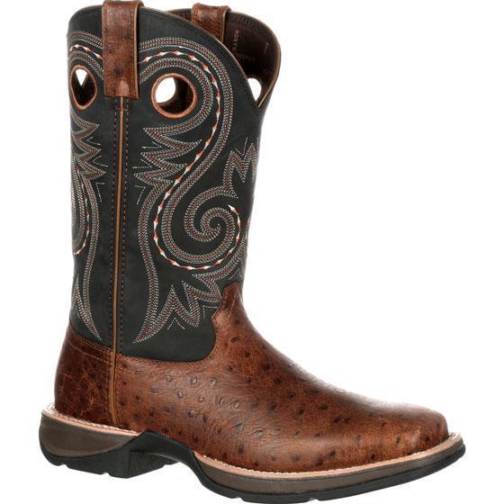 "Durango DDB0098 12"" Rebel Ostrich Embossed Slip Resistant Cowboy Western Boots by Durango"