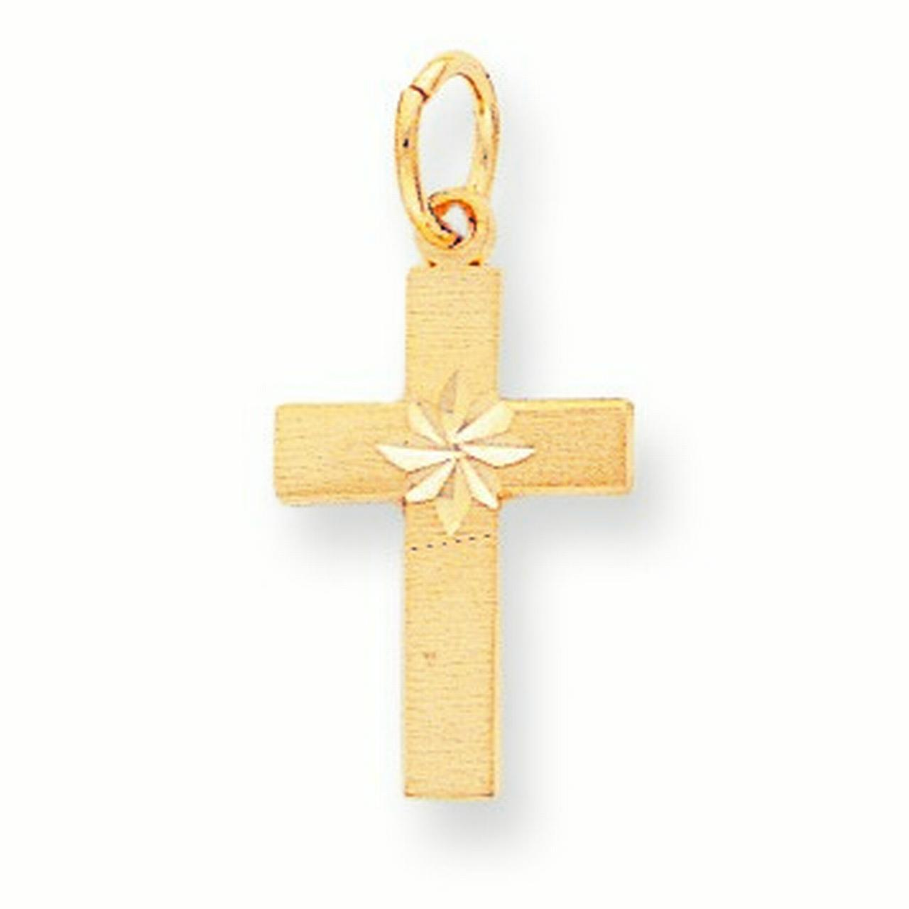 10k Yellow Gold DI-CUT Cross Charm - .9 Grams