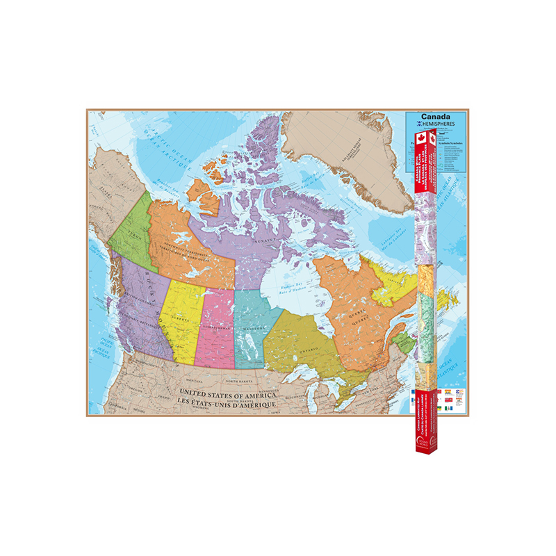 (Price/EA)Round World Products RWPHM06 Hemispheres Laminated Map Canada