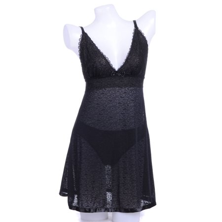 Black Negligee - Anna-Kaci S/M Fit Black Covered Faded Hearts Outline Pattern Ribbon Hem Negligee