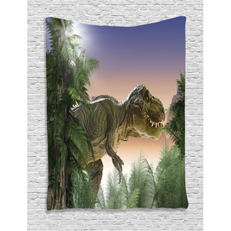 Jurassic Decor Wall Hanging Tapestry, Dinosaur In The Jungle Trees Forest Nature Woods Scary Predator Violence, Bedroom Living Room Dorm Accessories, By Ambesonne (Jungle Wall Tapestry)