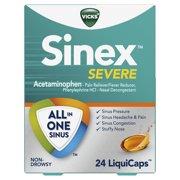 Vicks Sinex SEVERE All-In-One Sinus Pressure, Pain, Congestion, & Headache Relief, Non-Drowsy LiquiCaps, 24 Count