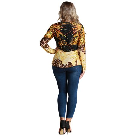 Women Plus Size Blouse Top Contrast Print V-Neck Asymmetric Hem Long Sleeve Top Yellow - image 5 de 7