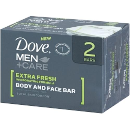 Dove Men+Care Body & Face Bar, Extra Fresh, 2 bars, 4.25 oz ea (Pack of 4)