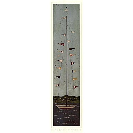 Warren Kimble Picture - Nautical II by Warren Kimble 28x7 Art Print Poster Sailboat Flags Ocean Folk Country Primitive