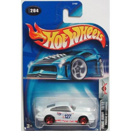 Porsche 997 Carrera Cabriolet - Hot Wheels 2003 Final Run Porsche 911 Carrera 10/12 WHITE 1:64 Scale Collectible Die Cast Car #204