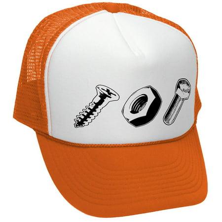 SCREW NUT BOLT funny dare gag gift joke - Adult Trucker Cap Hat, Neon - Funny Trucker Hats