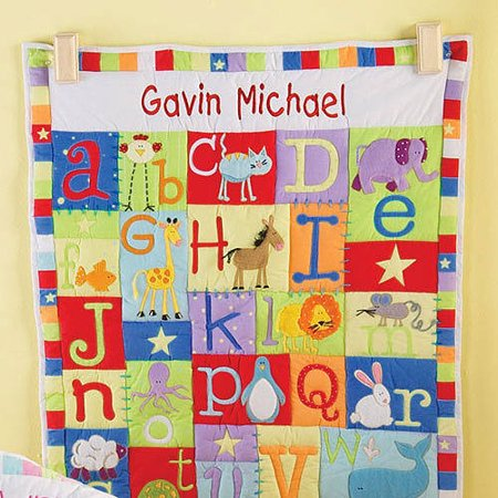Personalized Baby Alphabet Quilt-Available in Primary or Pastel - Personalized Baby Scrubs