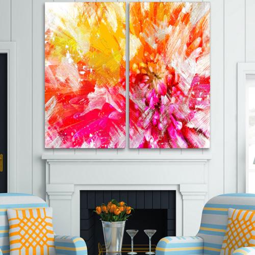 DESIGN ART  'Vibrant Colors Flower Art' Canvas Art Print - 40Wx40H Inches - 2 Panels