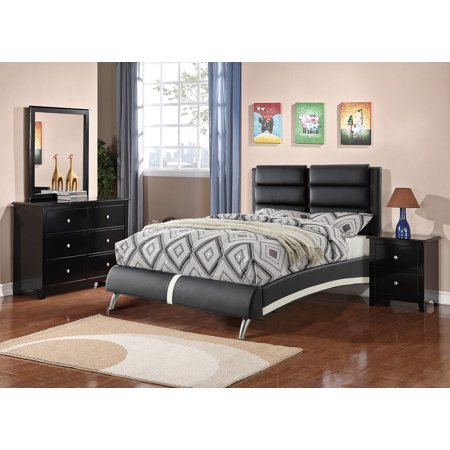 Modern Bedroom Furniture 4pc Set Black Faux Leather Multi Paneled HB Eastern King Size Bed Dresser Mirror Nightstand Leather Panel Drawers