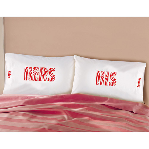 Personalized His/Hers Zebra Print Pillowcase Set, Red, Set of 2