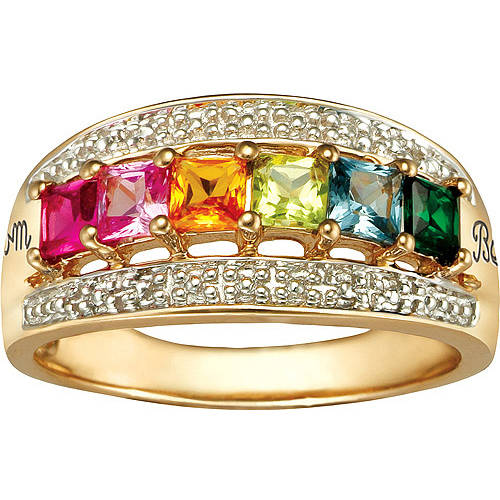 Keepsake Personalized Felicity Mother's Princess-Cut Birthstone Ring available in Sterling Silver, 10kt Gold Plate, 10kt Gold and 14kt Gold