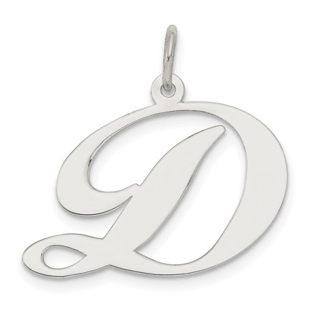 925 Sterling Silver Large Script Initial Monogram Name Letter D Pendant Charm Necklace Gifts For Women For Her