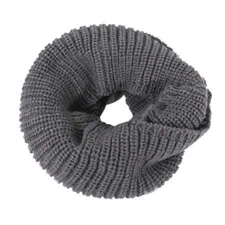 ALLYDREW Unisex Soft Thick Knitted Winter Warm Infinity Scarf Ribbed Knit Infinity Loop Scarf - Dark Gray Thick Infinity Scarf
