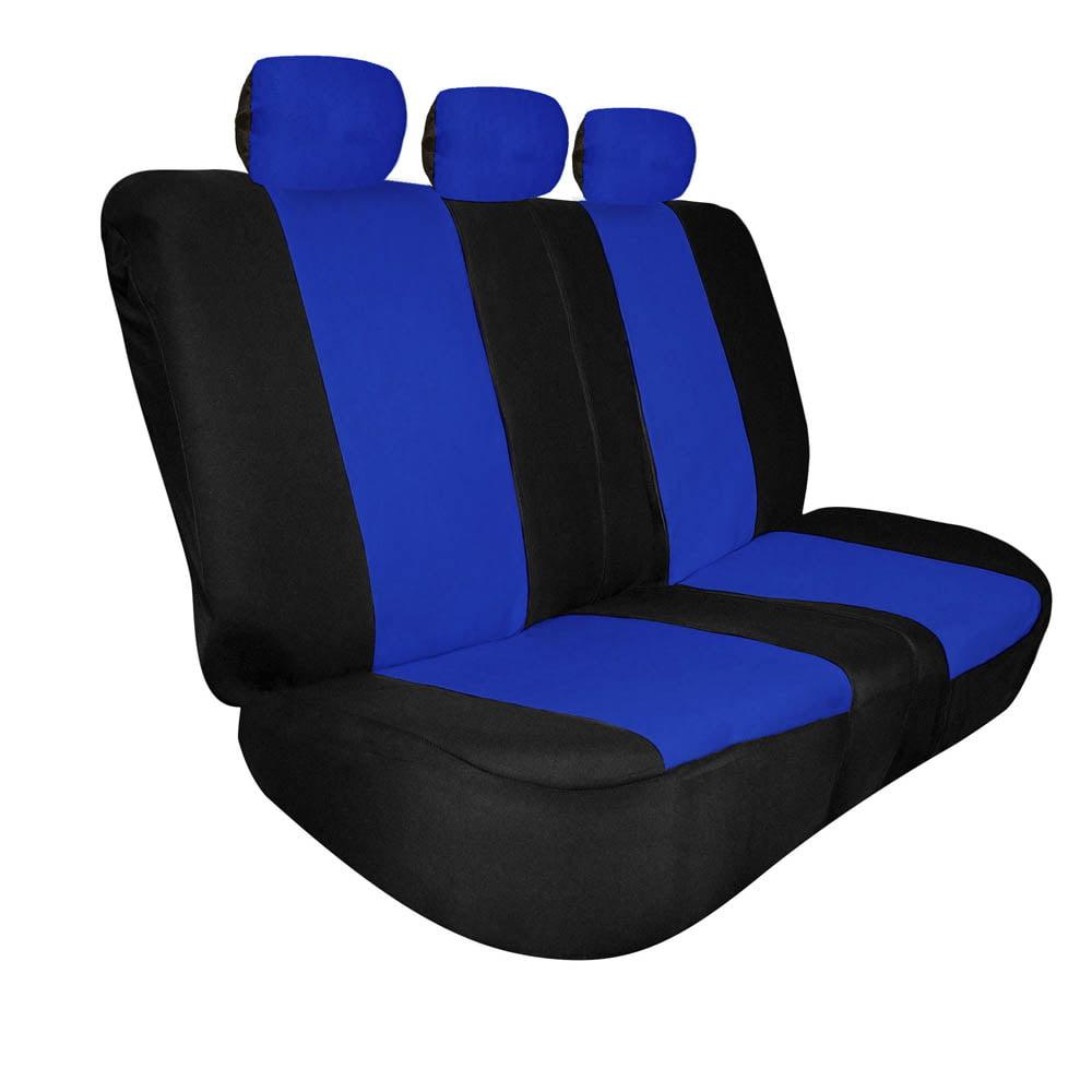 FH Group Universal Fit Full Coverage Split Bench Cover for Trucks Suvs Vans, Blue and Black