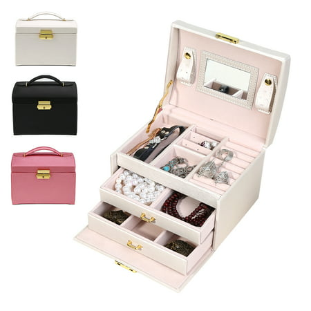 EECOO Jewelry Organizer Box with Lock, Three Layers PU Storage Box Jewelry Organizer Travel Case Holder for Earring Ring - Tabletop Jewelry Box