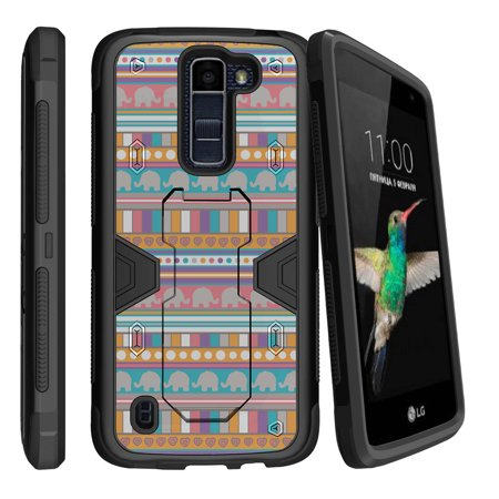 LG K7 | LG Tribute 5 Dual Layer Shock Resistant MAX DEFENSE Heavy Duty Case with Built In Kickstand - Elephant Tribal Pattern
