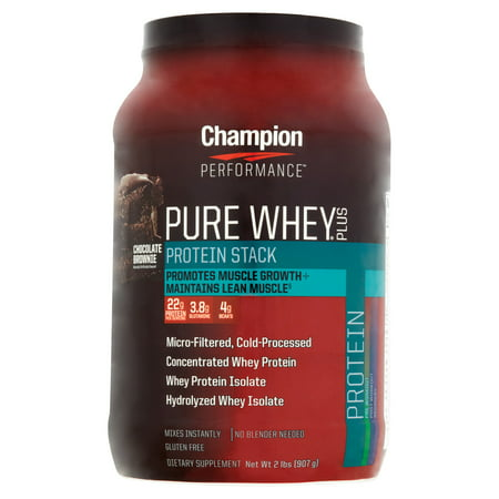 Champion Performance Pure Whey Plus Chocolate Brownie Protein Stack  2 Lbs