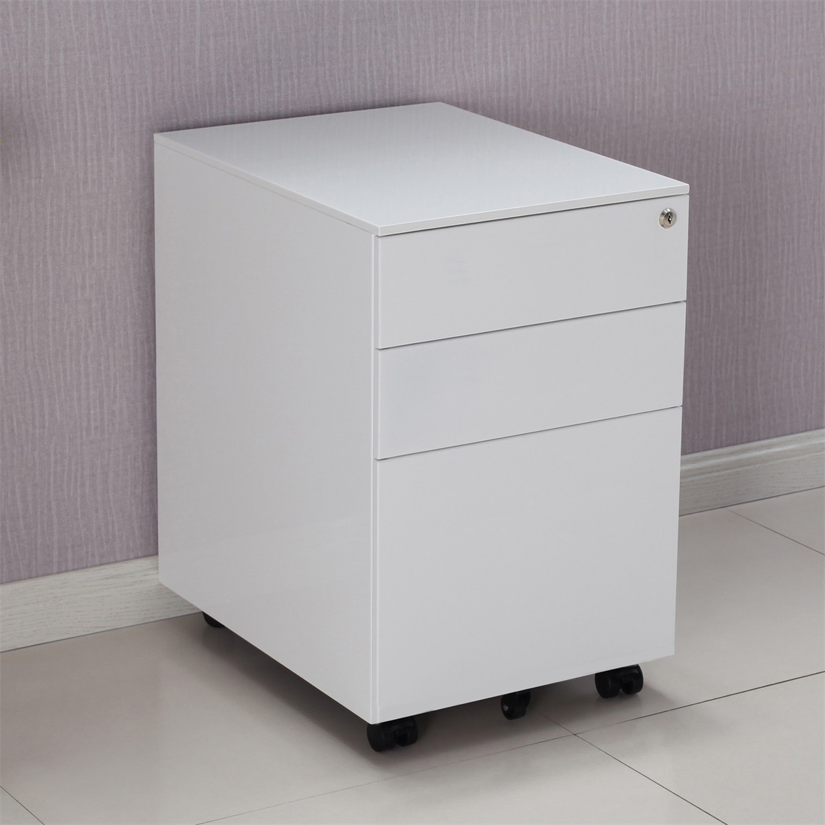 ModernLuxe Movable 3 Drawers Lockable Metal File Cabinet ...