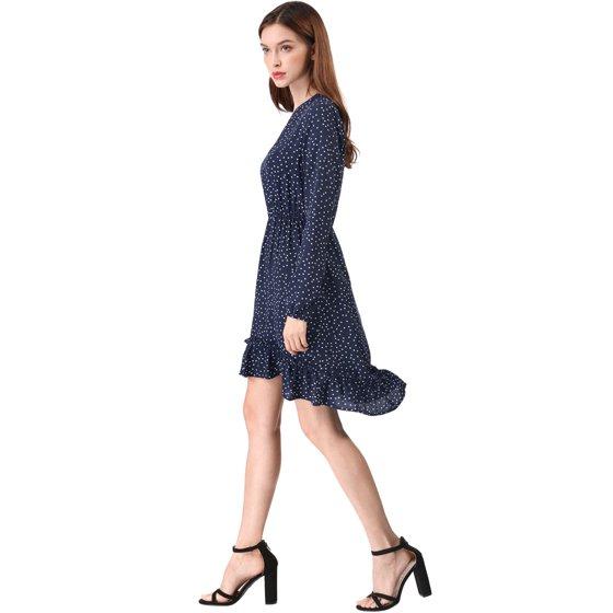 5411505d0b Unique Bargains - Women s Retro V-Neck Dotted Ruffle High Low Dress Blue M (US  10) - Walmart.com